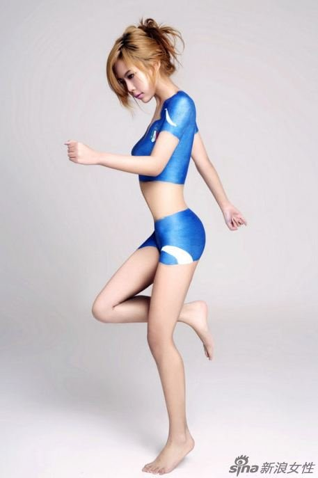 Sexy asian full body painted girls in action for Body paint girl photo